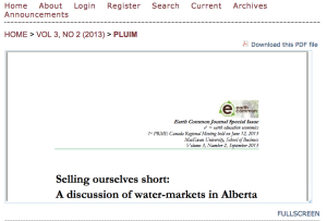 Selling Ourselves Short: Water Markets in Alberta