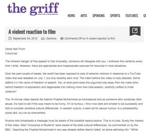 A violent reaction to film
