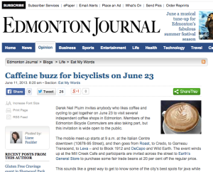 Caffeine buzz for bicyclists on June 23